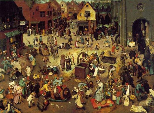 Pieter Brueghel, o velho (ca 1525-1569) Luta entre Carnaval e Quaresma óleo sobre madeira de carvalho (1559)  Wien Kunsthistorisches Museum Gemäldegalerie