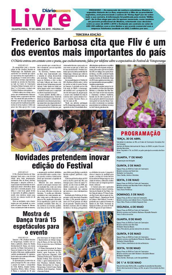 Frederico Barbosa patrono do  Fliv - Votuporanga 2013